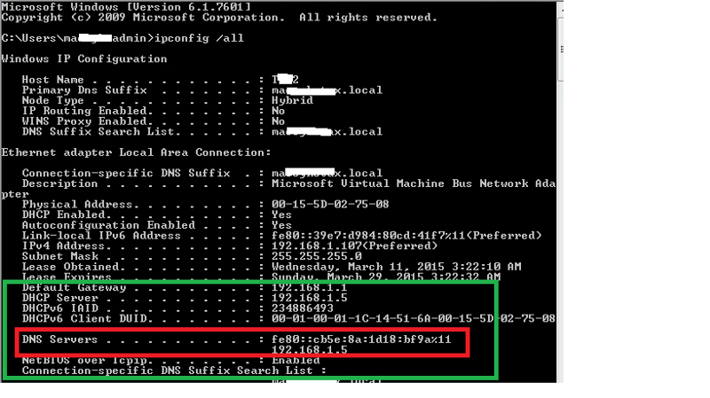 IPCONFIG from Workstation PC