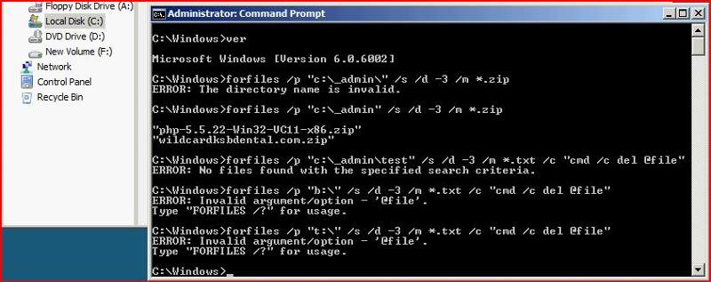 """I don't have a drive B:\ or T:\.  Attempting to run forfiles on the drive ends up giving me the incorrect string literal for the true error which should be """"Invalid drive or directory name""""."""