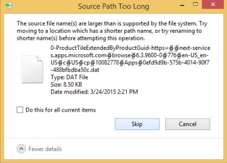 Long path error message sample.