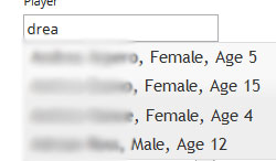 Show name, gender, and age with hidden Id.