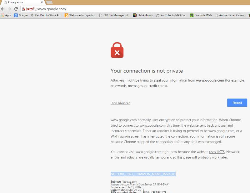 google privacy error