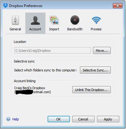 DropBox Account Link