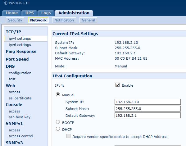 APC Management Interface