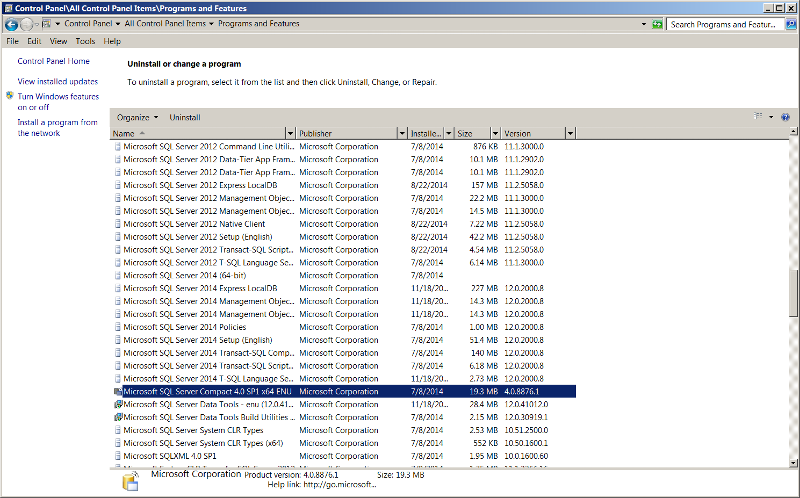Program and Features Showing SQL Server CE version
