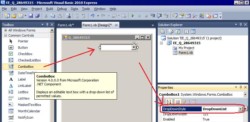 Adding a dropdown Box to windows Forms Using Visual Basic
