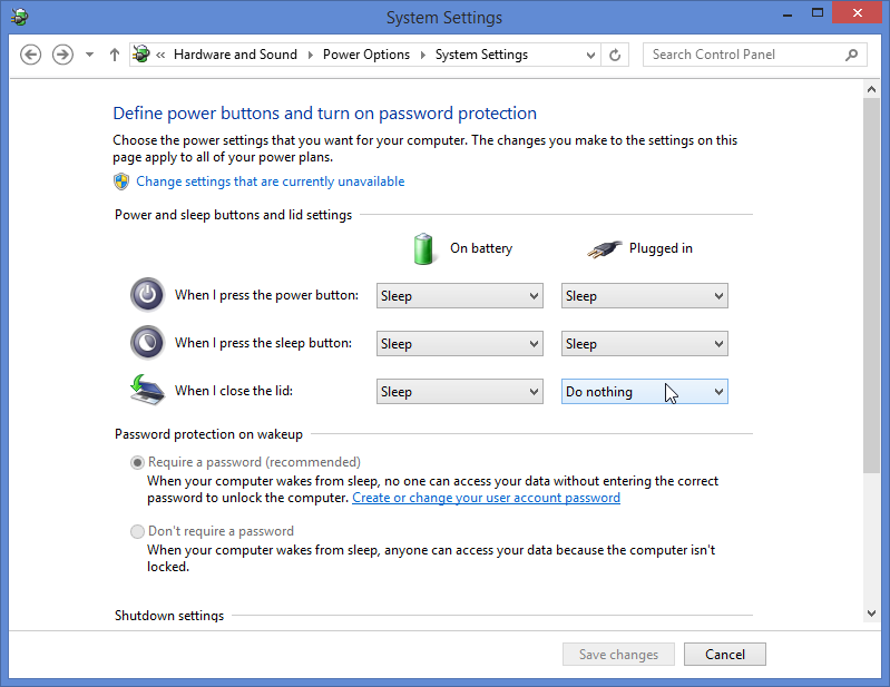 Here's where to go in the control panel of windows 8.