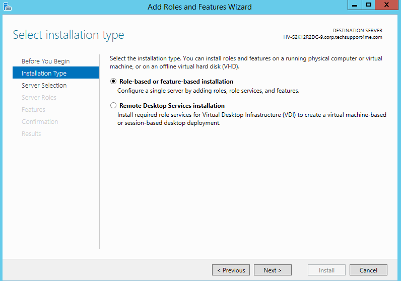 role based or features based installation