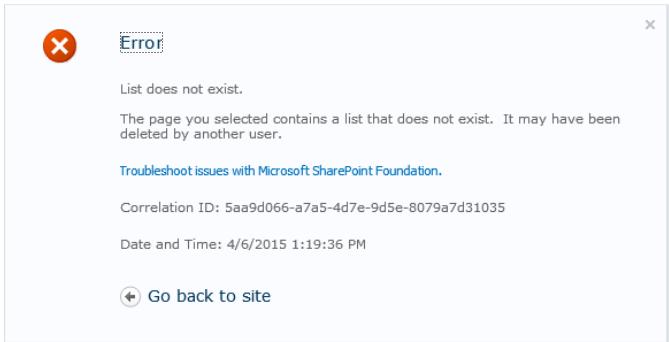 Error after uploading exported list webpart