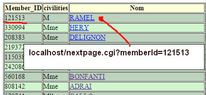 Table with url active links