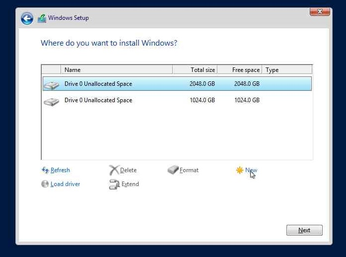 Drive Partitioning on new Hyper-V