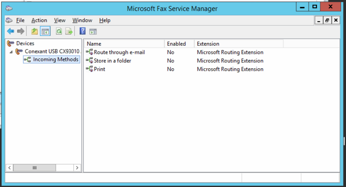this is a screen show of MS Fax Serivce Manager on the server where it is not working