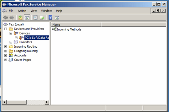 this is a screen show of MS Fax Service Manager on a server where it is working OK