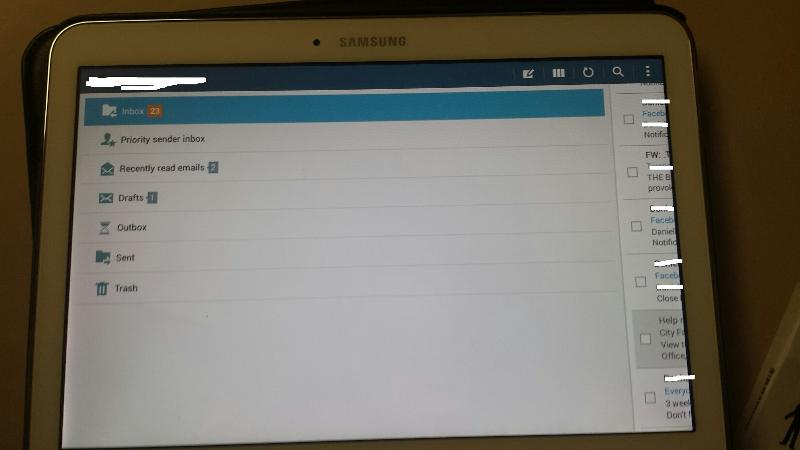 Samsung Tablet Screen in Mail App