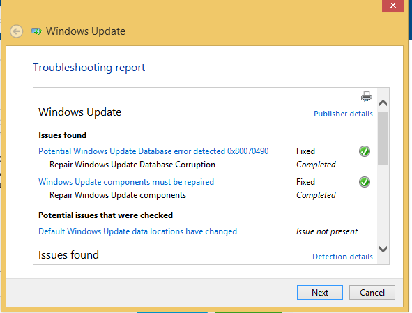 Windows Update diag pkg result.