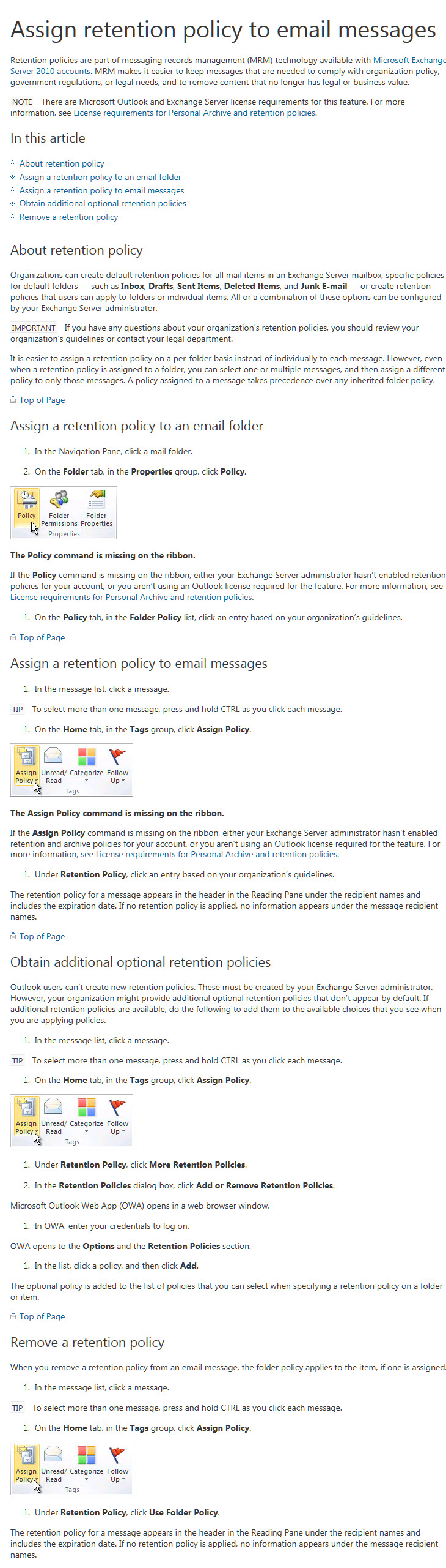 Retention Policies that can be applied to email or folders