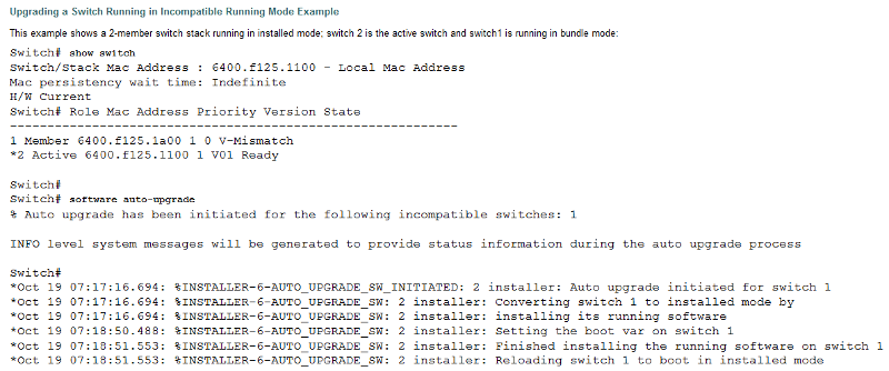 Upgrading a switch running in incompatible running mode
