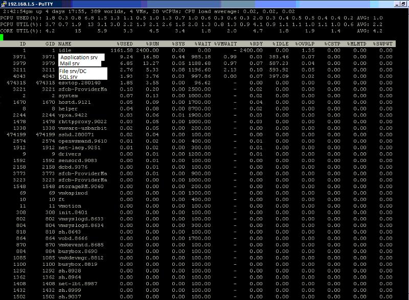 esxtop vCPU screenshot