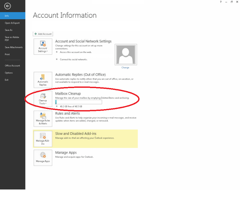 Outlook 2013 client showing Mailbox usage when set up with Office 365