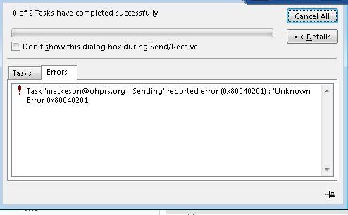 Outlook error 0x80040201