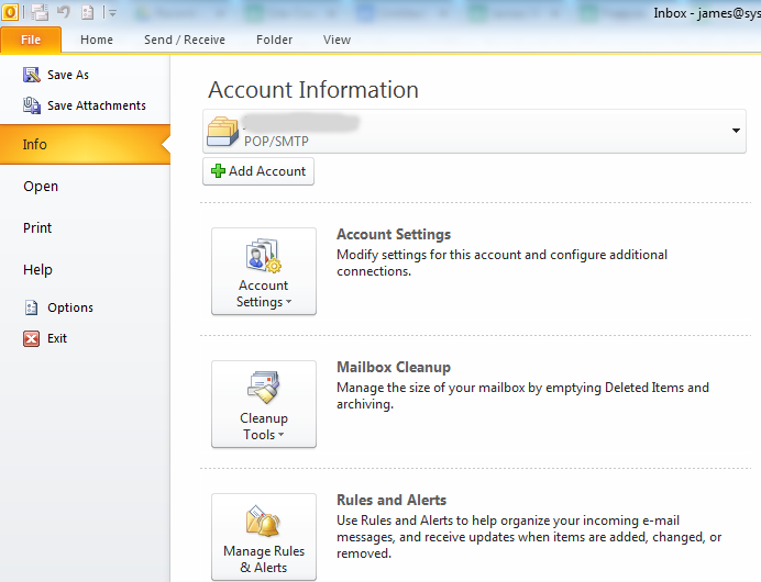outlook file screen