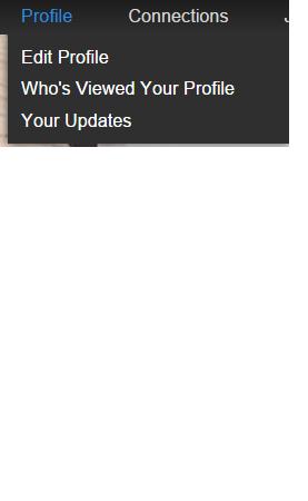 LinkedIn Pulldown menu incl. EDIT PROFILE