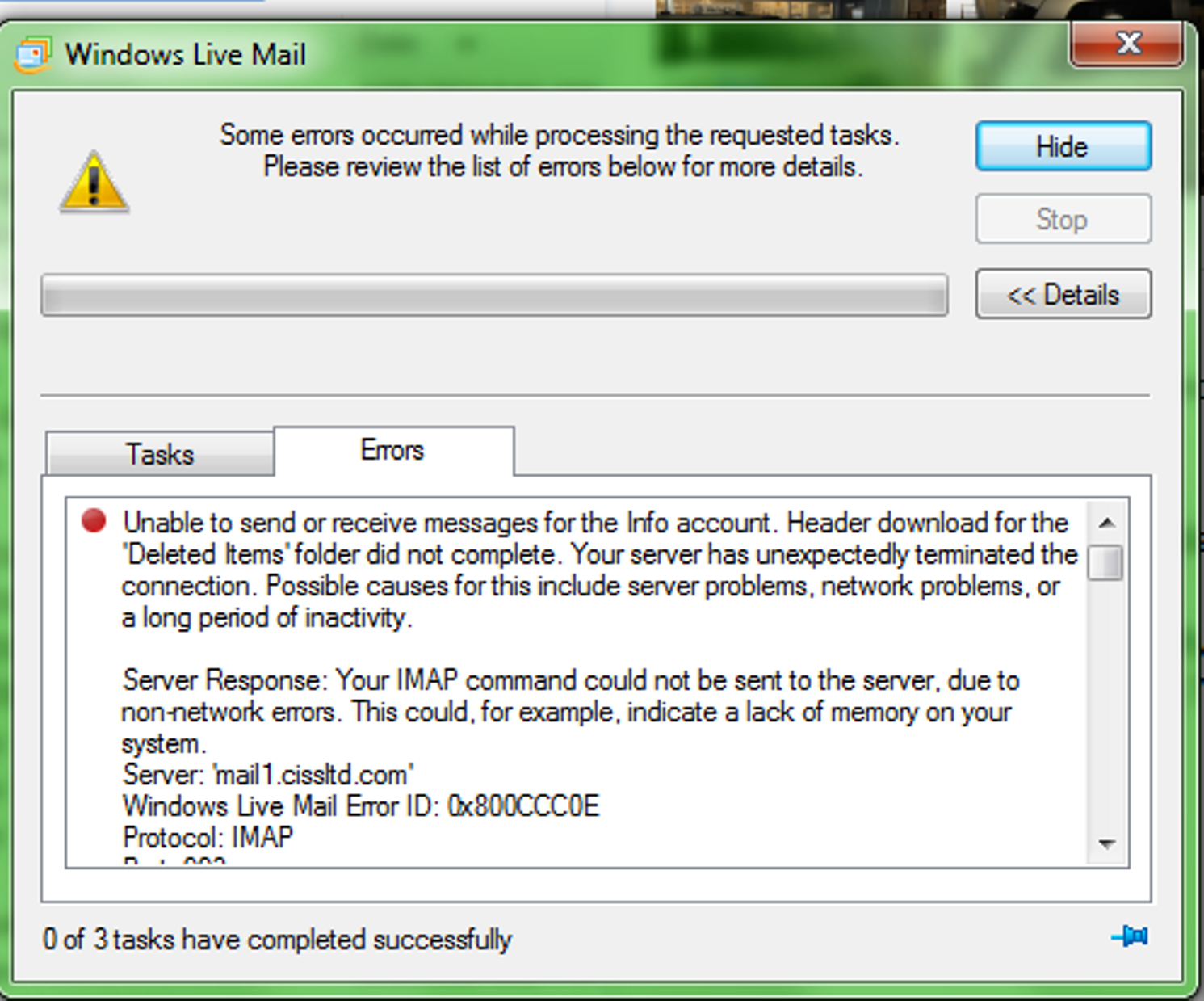 windows live mail to exchange 2013