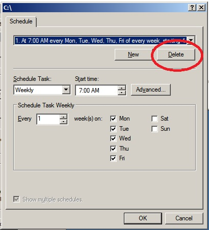Delete shadow copy scheduled task