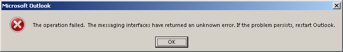 Outlook 2013 error when saving to OneDrive