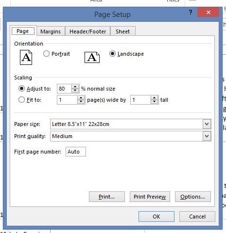 Page Setup - Scaling