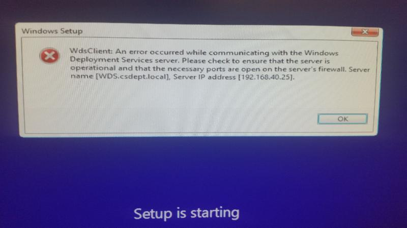 "Screen grab of error. This is after pxe boot, after boot.wim loads, after ""setup is starting"""
