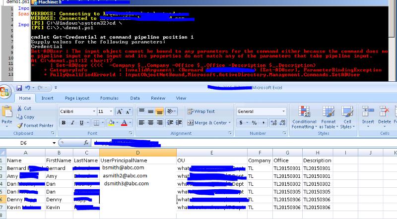 csv file and powershell output