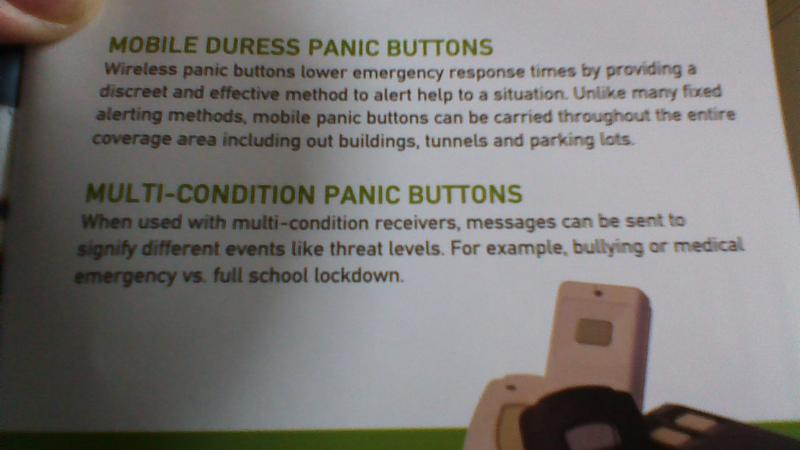 Page from Inovonics brochure on wireless panic buttons for schools.