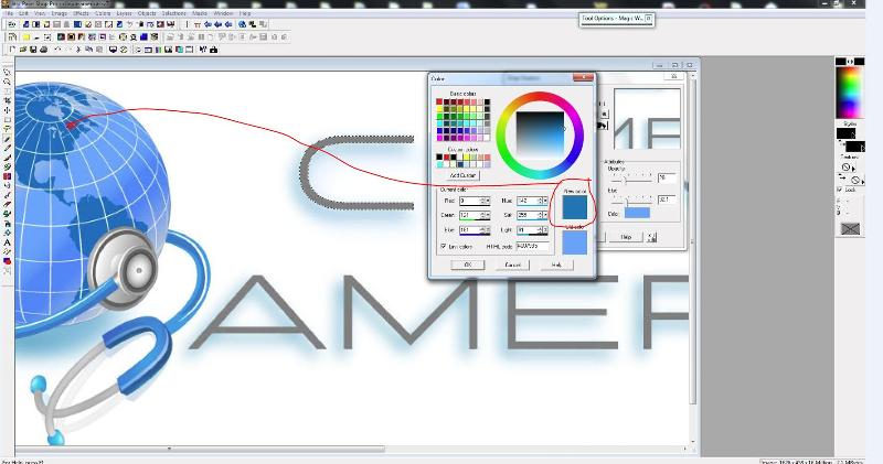 change the colour with colour dropper