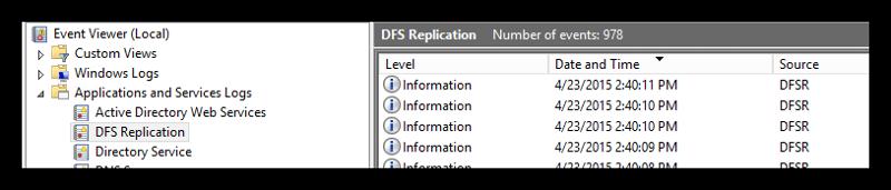 DFS Replication Log
