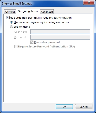 Outlook 2013 Outgoing Server settings