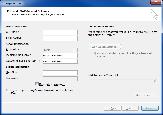 Outlook 2013 IMAP Gmail settings