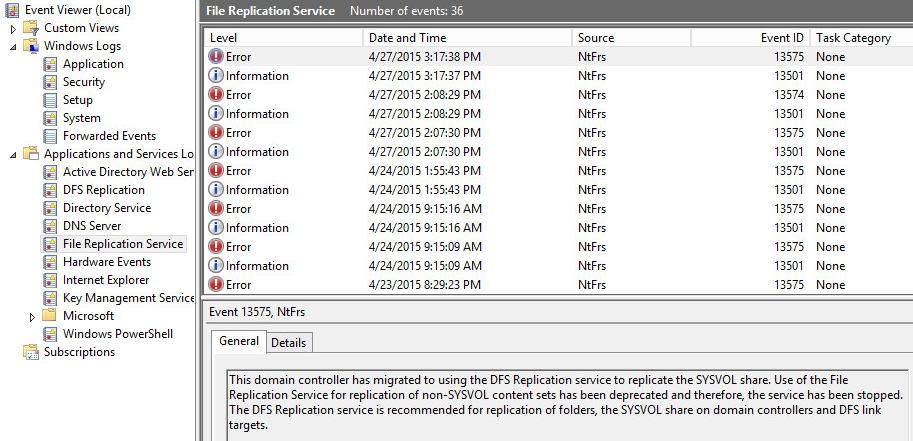 Group Policy Not Replicating - NTFRS Service Won't Start