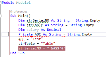 Error1'Private' is not valid on a local variable declaration.d:\documents\visual studio 2013\Projects\ConsoleApplication47\ConsoleApplication47\Module1.vb79ConsoleApplication47