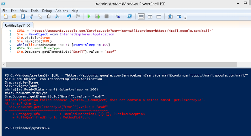 Elevated powershell with error