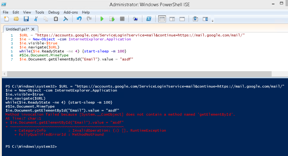 PowerShell Script to Control IE