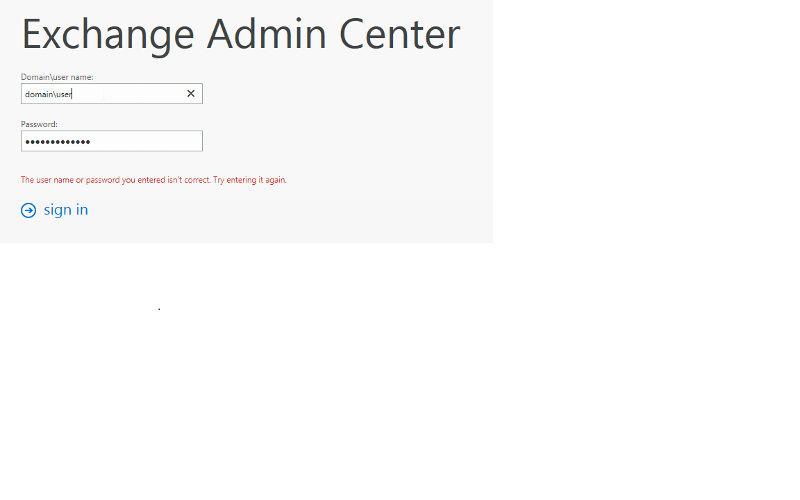 exchange login error
