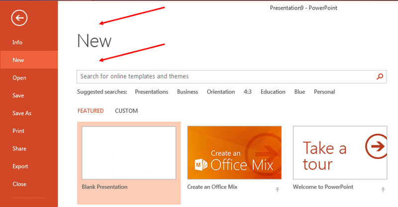 PowerPoint 2013 Backstage view, New tab