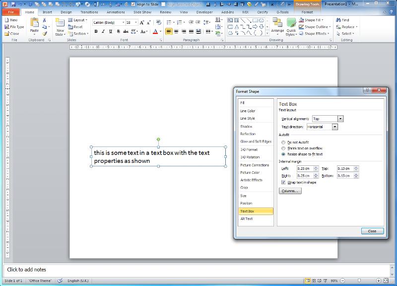 PowerPoint 2010 text box format properties