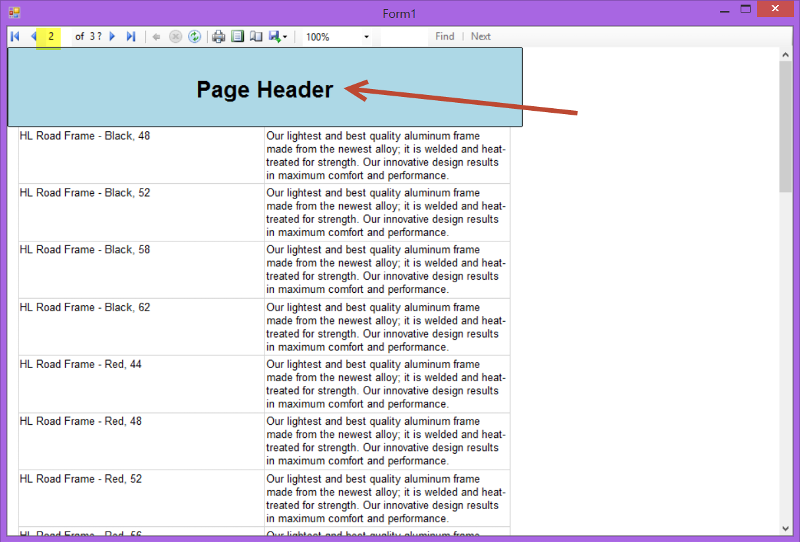 RDLC Page 2 with Page Header