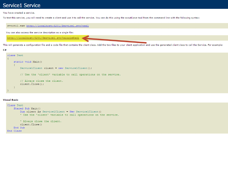 WCF page when service is started in the IDE