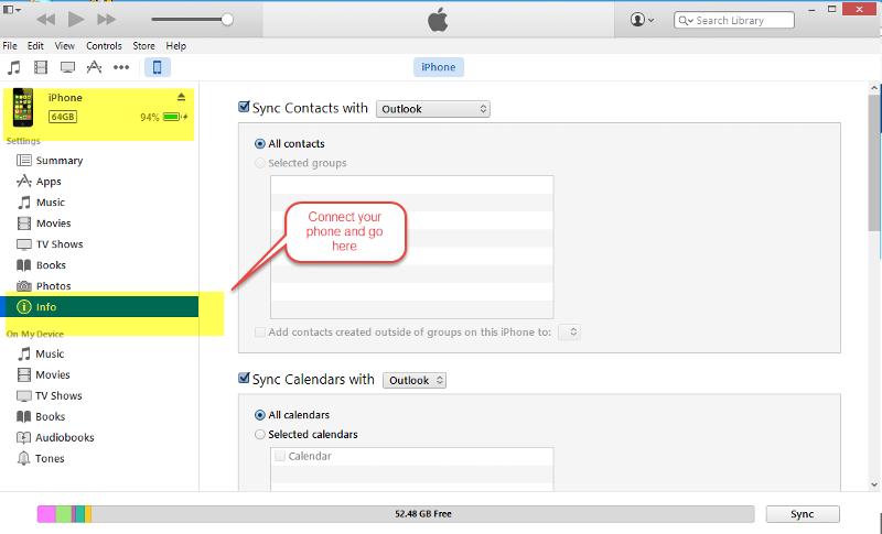 iTunes-Outlook-Sync-Setttings