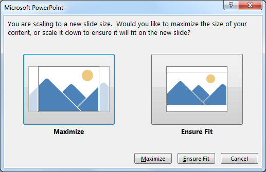 PowerPoint 2013 slide resize feature