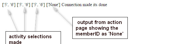 Output from action page showing MemberID as None