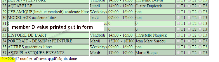 memberID value available in form page - printed from line 113