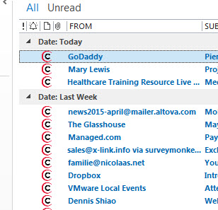 Screen shot from my inbox in Outlook 2013